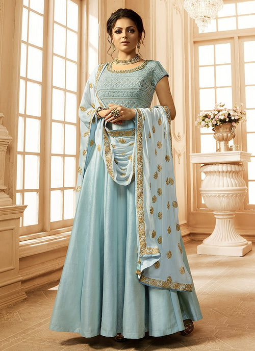 Light Blue Cutout Detail Bunch Embroidered Anarkali Suit