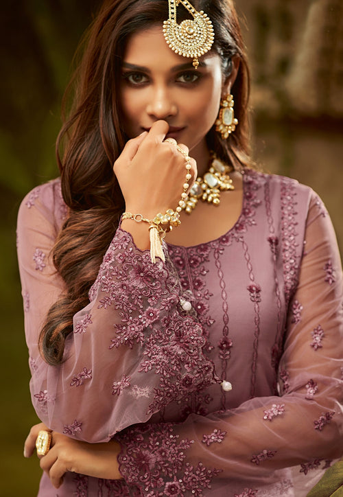 Lilac Purple Embroidered Palazzo Suit