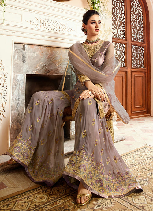 Lilac Purple With Golden Touch Embroidered Gharara Suit