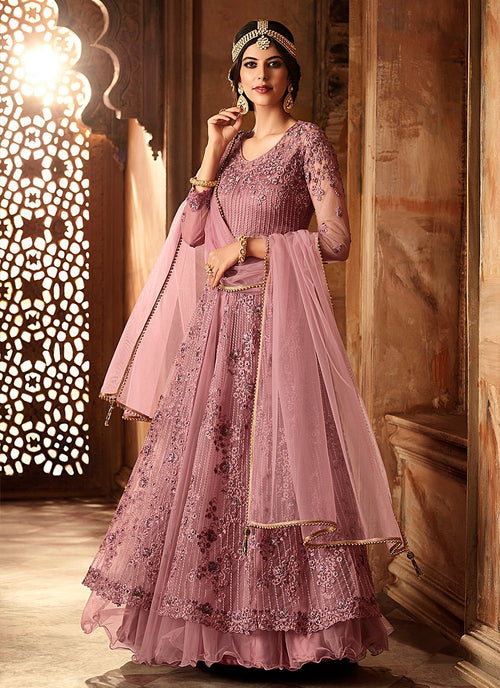 Lilac Purple Net And Satin Embroidered Lehenga Kurti Set