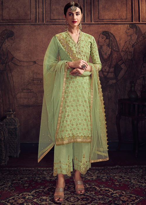 Light Green Pakistani Pant Suit