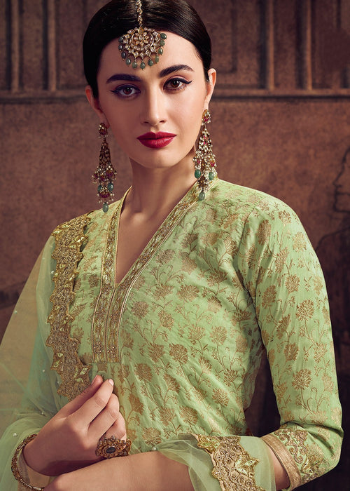 Indian Clothes - Light Green Pakistani Pant Suit