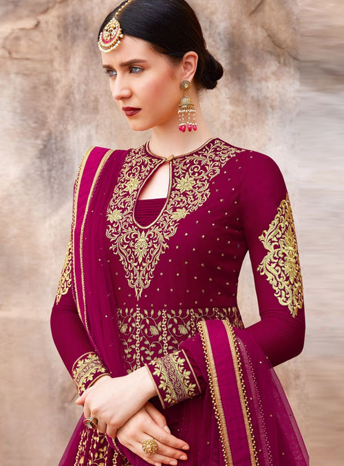 Magenta Traditional Embroidered Designer Anarkali Suit