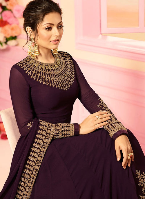Magenta With Traditional Embroidered Detail Designer Kalidar Anarkali Suit