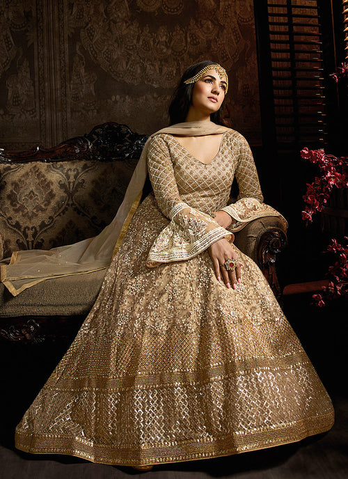 Golden Beige Embroidered Layered Anarkali Suit