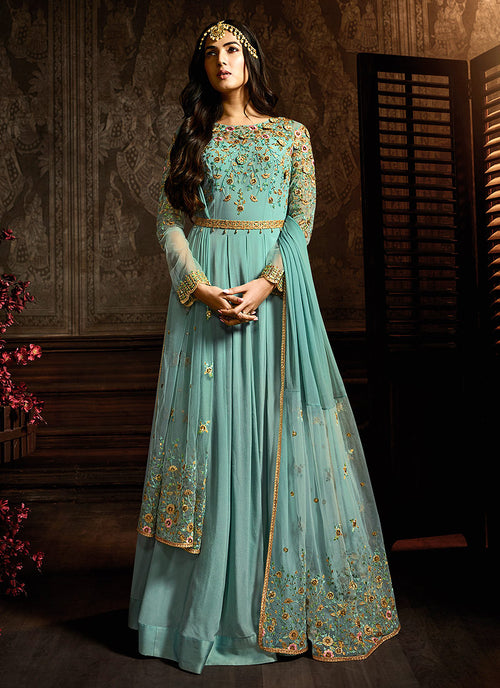 Floral Plaited Anarkali Suit