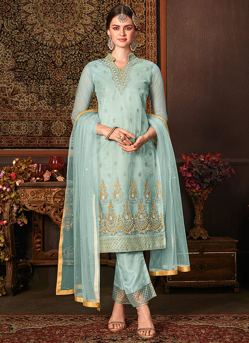 Indian Clothes - Light Blue Embroidered Pakistani Pants Suit