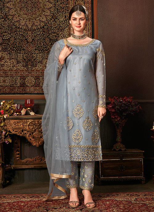 Indian Clothes - Blue Embroidered Pakistani Pants Suit