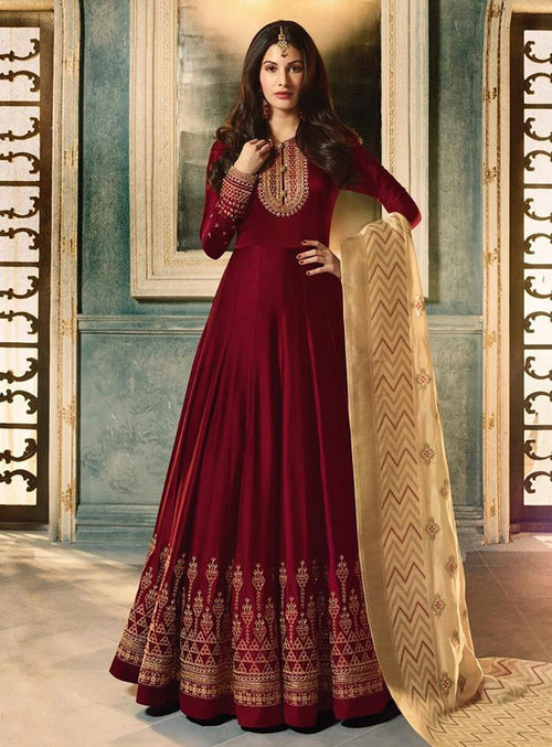 Maroon And Cream Motif Embroidered Ghera Anarkali Suit