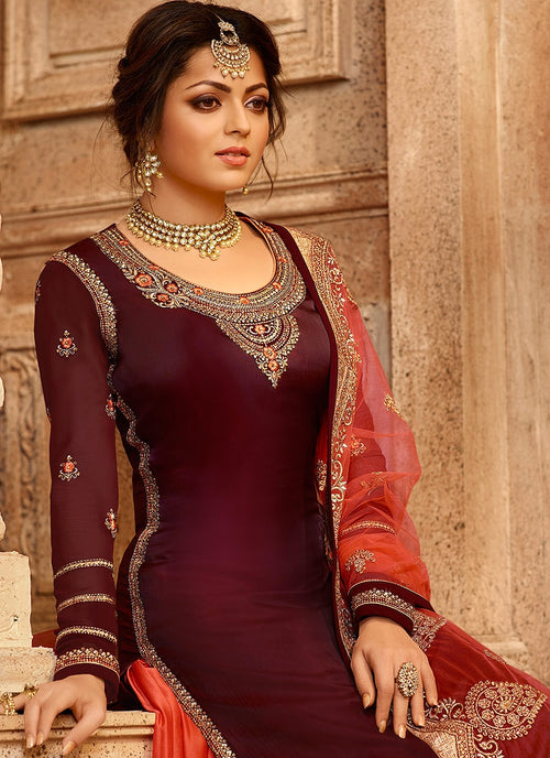 Maroon And Orange Dual Bottom Lehenga/Pant Kurti Set
