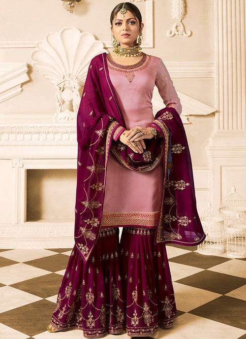 Maroon And Pink Embroidered Designer Gharara Palazzo Suit
