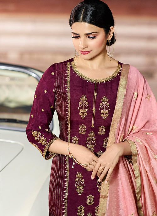 Maroon And Pink Pakistani Pant Suit