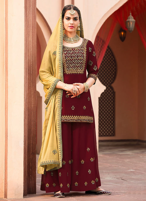Maroon And Yellow Embroidered Palazzo Suit