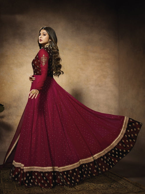 Maroon Bridal Embroidered Velvet Anarkali Suit