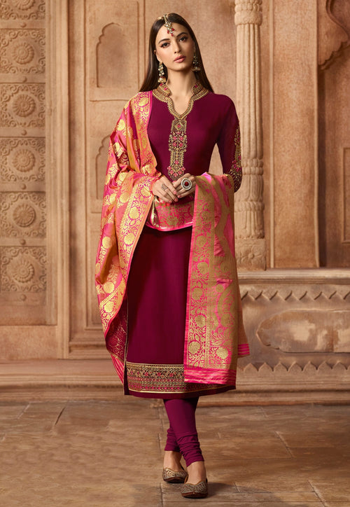 Maroon Contrasting Embroidered Satin Churidar Suit