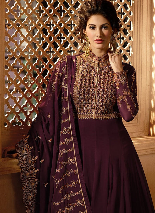 Maroon Delicately Embroidered Kalidar Anarkali Suit
