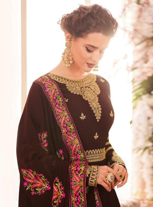Maroon Golden Multi Embroidered Flared Anarkali Suit