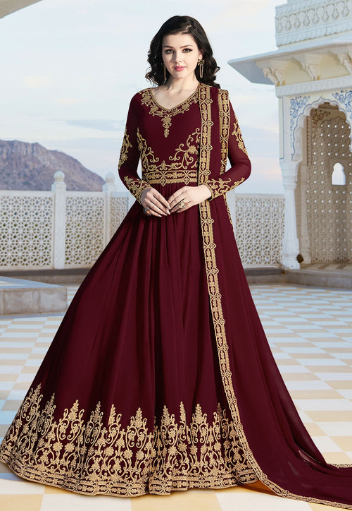 Maroon Overall Elegant Embroidered Anarkali Suit