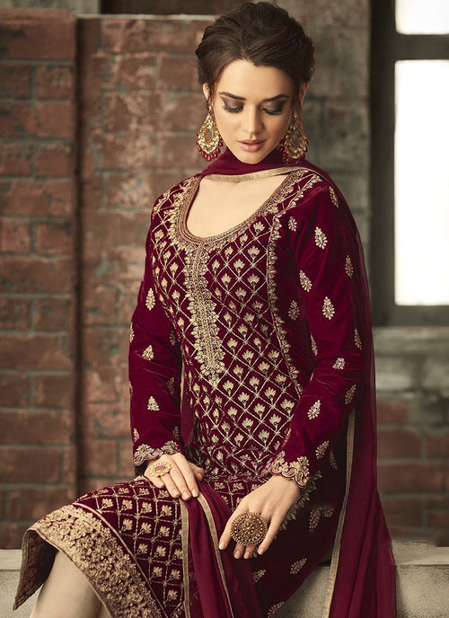 39ca8f64ec Maroon With Gold Ethnic Embroidered Pant Suit - Hatkay – Hatkay.com