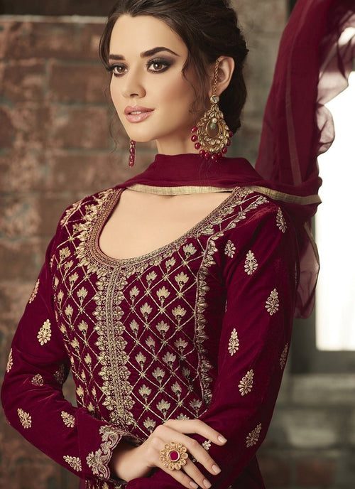 Maroon With Gold Ethnic Embroidered Pant Suit