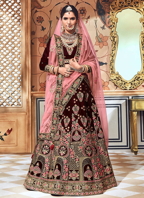 2a8049d1542 Maroon With Pink Velvet Hand Embroidered Lehenga Choli - Hatkay – Hatkay.com
