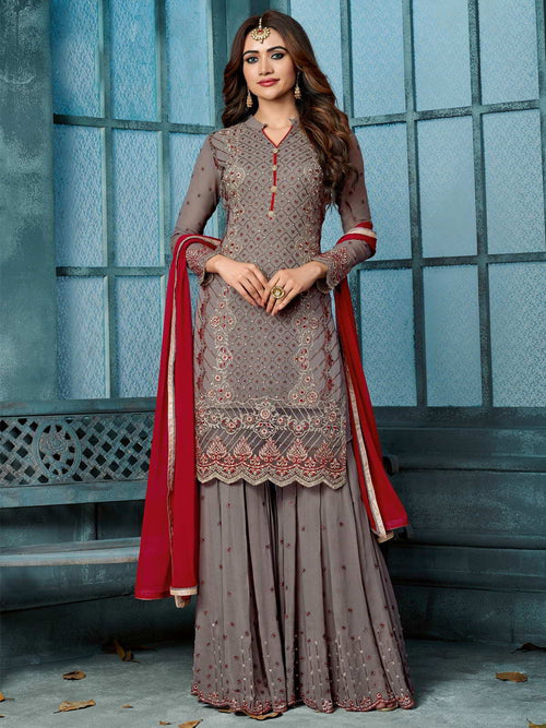 Mauve And Red Embroidered Palazzo Suit