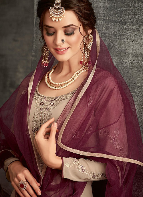 Mauve And Wine Ethnic Embroidered Palazzo Suit