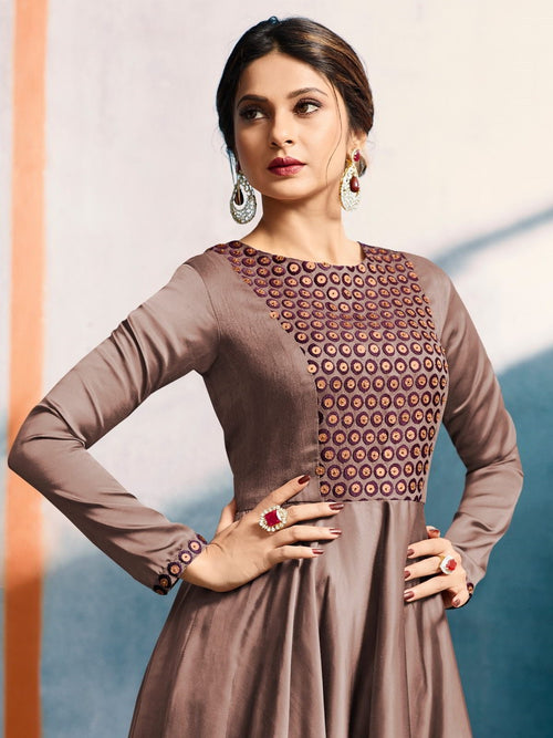Coffee Brown With Yoke Embroidered Detailed Royal Kaliyaari Anarkali Style Kurti