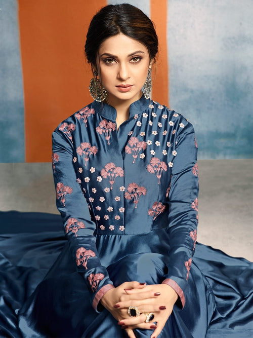 Dawn Blue With Blooming Floral Embroidered With Annotated Detail Designer Royal Anarkali Style Kurti