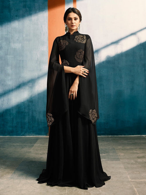 Black All Over With Copper Floral Bunch Embroidered Designer Bell Sleeves Flared Anarkali Style Kurti