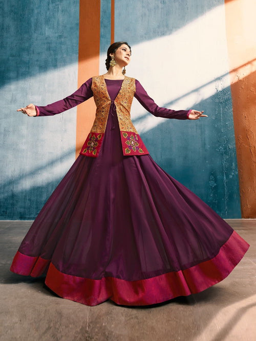 Plum Perfection With Mustard Contrasting Jacket Embroidered Designer Anarkali Style Kurti