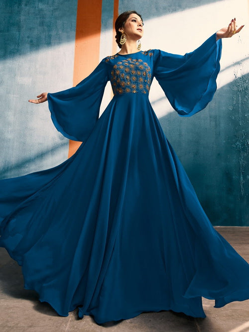 Blue Blossom With Delicate Bunch Embroidered Bell Sleeves Designer Plaited Anarkali Style Kurti