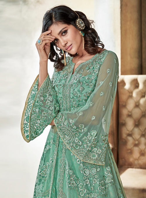 Mint Green Jacket Style Embroidered Lehenga Kurti Set