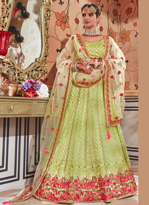 Mint Green With Floral Embroidered Flared Lehenga Choli Set