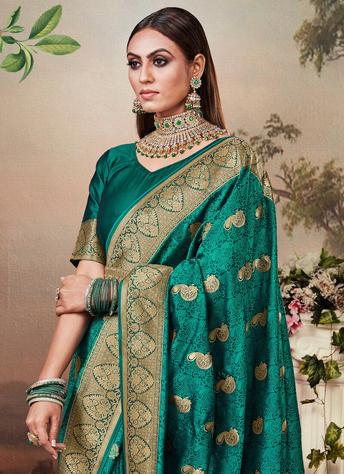 Indian Saree - Rama Green Designer Banarasi Silk Saree In usa uk canada