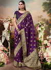 Plum Purple Designer Banarasi Silk Saree