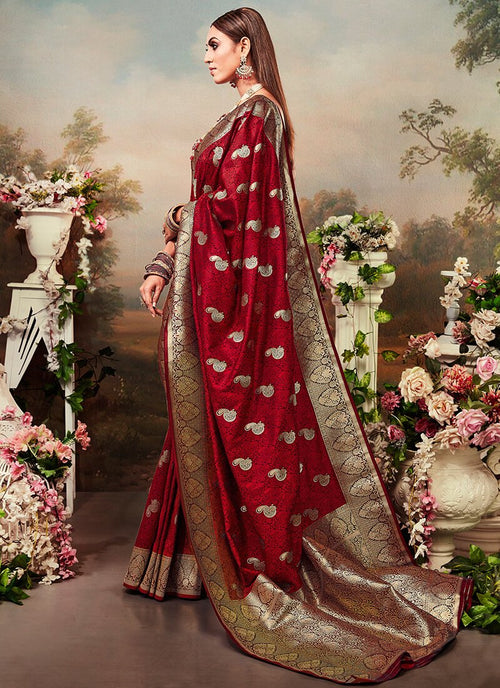 Indian Saree - Bridal Red Designer Banarasi Silk Saree In usa uk canada