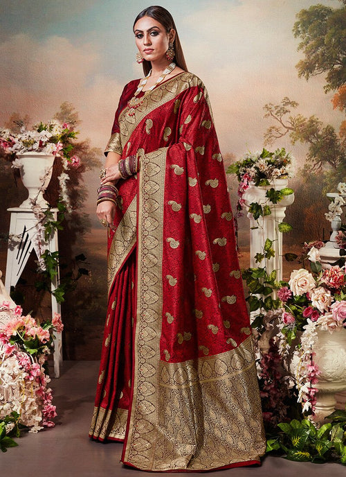 Bridal Red Designer Banarasi Silk Saree