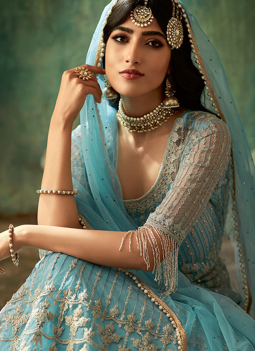 Sky Blue Designer Wedding Lehenga Style Anarkali Suit