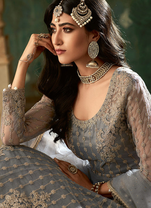 Grey Designer Wedding Lehenga Style Anarkali Suit