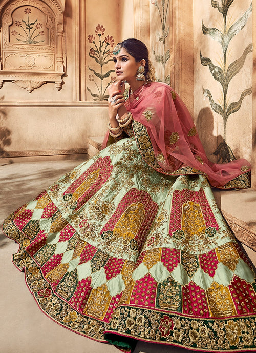 Multicoloured Bridal Hand Embroidered Lehenga Choli
