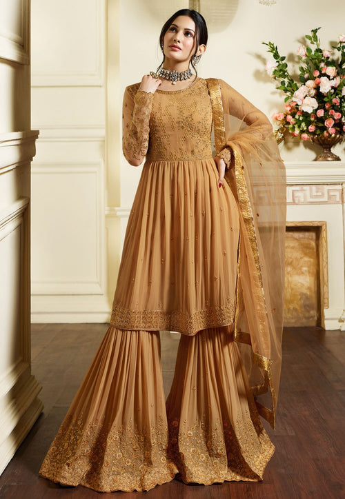 Mustard Yellow Traditional Embroidered Gharara Suit
