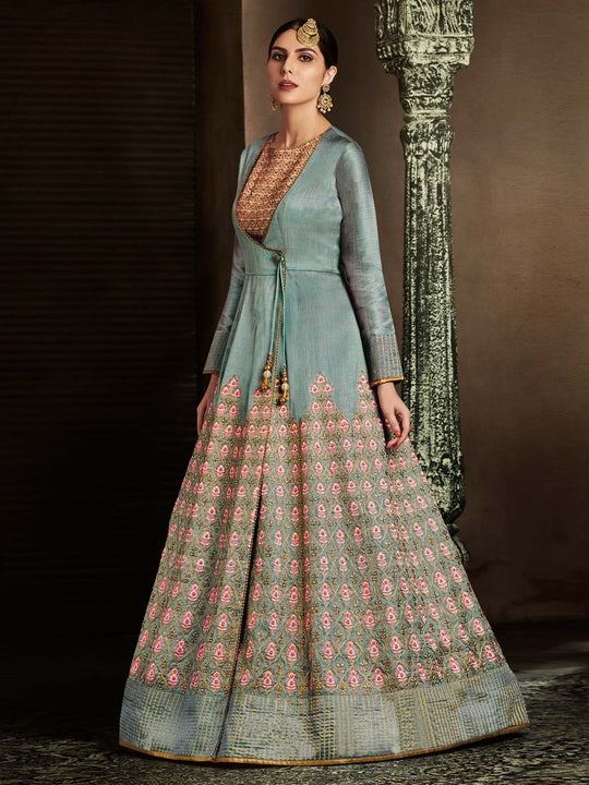 Grey And Pink Embroidered Anarkali Suit