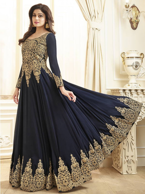 Navy Blue With Golden Detail Flared Anarkali Suit