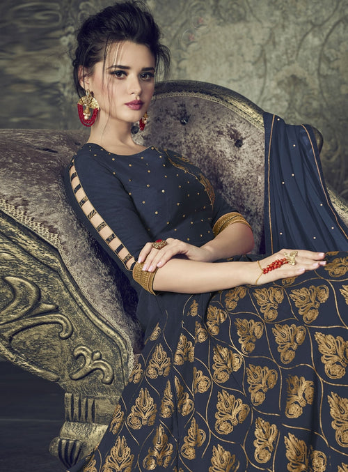 Navy Blue And Golden Embroidered Flared Anarkali Suit