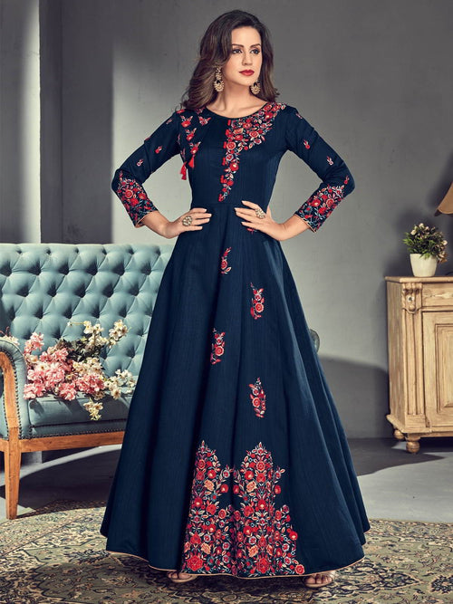 Navy Blue And Pink Embroidered Silk Anarkali Suit