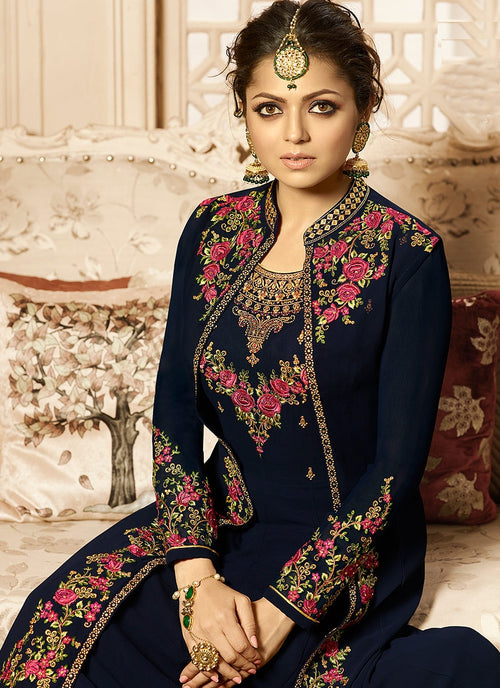 Navy Blue And Pink Jacket Style Embroidered Anarkali Suit