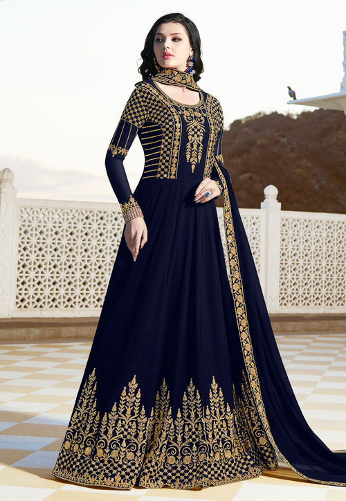 Navy Blue Elegant Embroidered Anarkali Suit