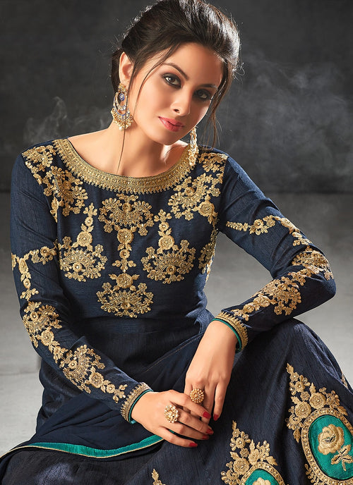 Navy Blue With Minimalist Embroidered Flared Anarkali Suit
