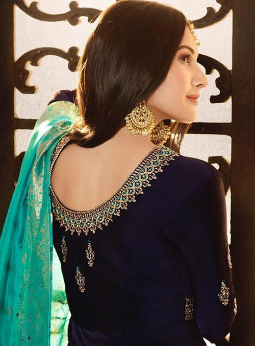 Navy Blue And Turquoise Motif Embroidered Ghera Anarkali Suit